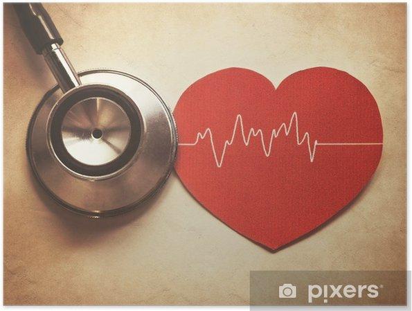 Poster Coeur et un stéthoscope - Santé et médecine