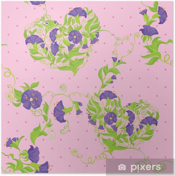 Poster Coeurs Convolvulus fleurs sur le point de polka rose - Seamless - Styles