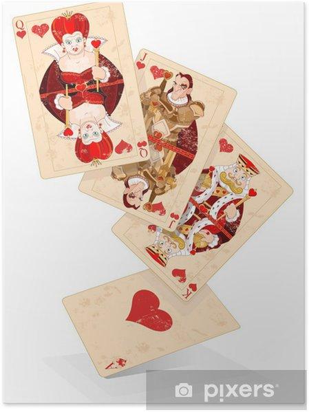 Poster Coeurs jouent aux cartes - Divertissements