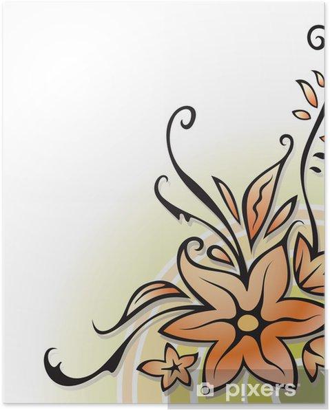 Poster Coin d'ornement, décoration florale, sur fond blanc, vecteur - Arrière plans