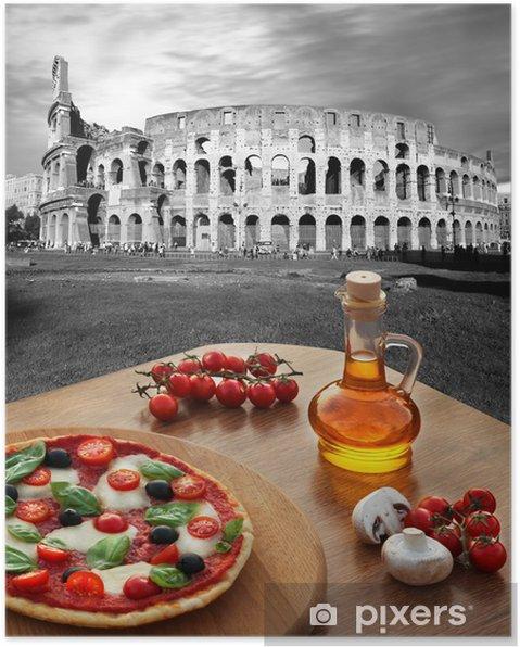 Poster Colisée avec de la pizza italienne à Rome, Italie - Thèmes