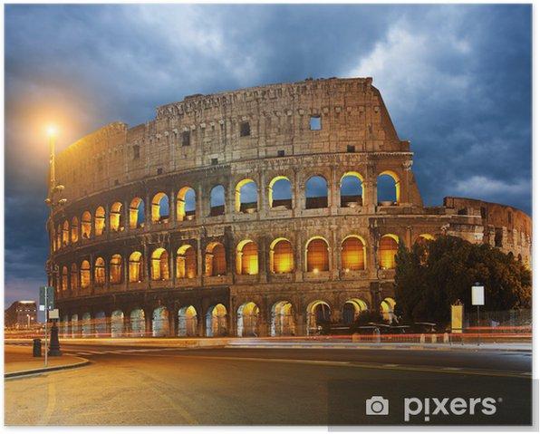 Poster Colisée et les feux de circulation la nuit à Rome, Italie - Thèmes