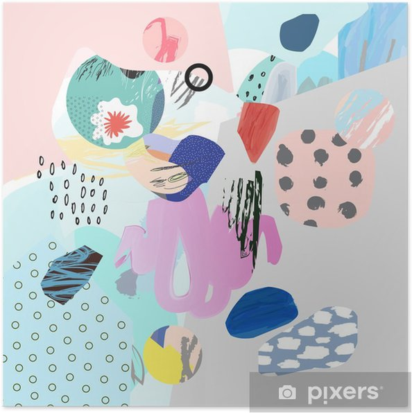 Poster Collage créatif Trendy avec différentes textures et de formes. conception graphique moderne. L'œuvre insolite. Vecteur. Isolé - Ressources graphiques