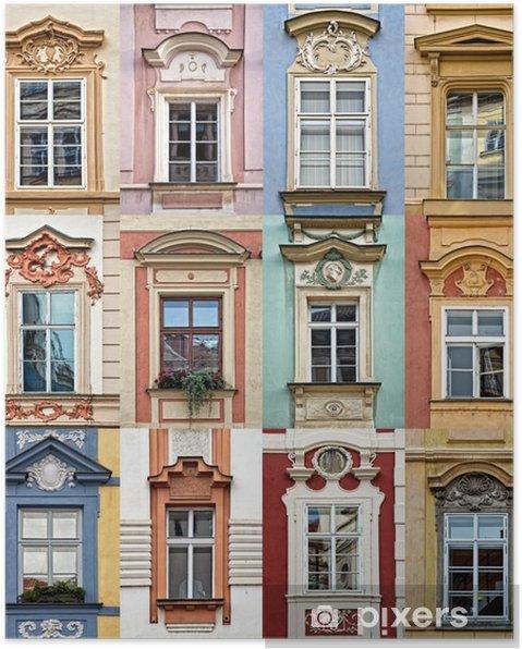 Poster Collage de fenêtres colorées de Prague, République tchèque - Voyages
