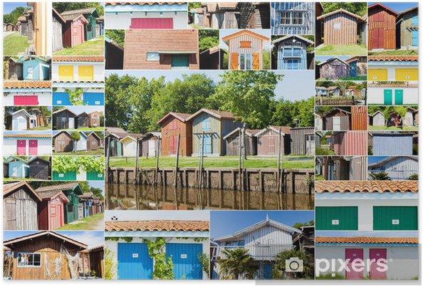 Poster Collage De Maisons Typique De Pecheurs Du Bassin D Arcachon