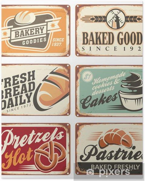 Poster Collection de signes de boulangerie Vector vintage - Vente