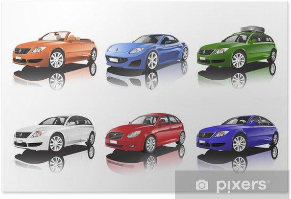 Poster Collection de voitures - Sur la route