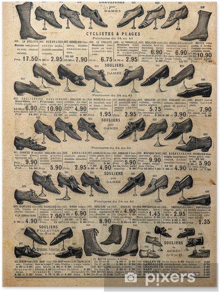 Poster Collection vintage des chaussures victoriennes. la publicité des antiquaires -