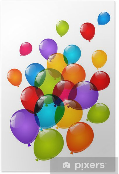 Color glossy balloons isolated on white Poster - Celebrations