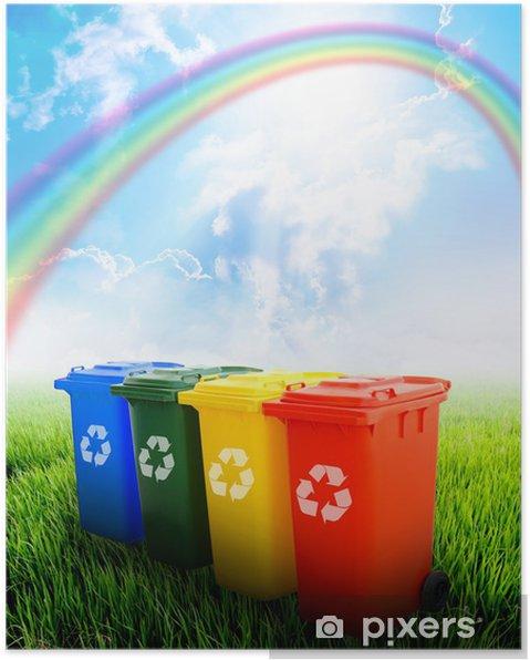 Poster Coloré bacs de recyclage sur fond de paysage - Vie