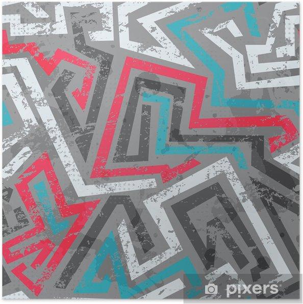 Poster Coloré graffiti grunge, seamless - Arrière plans