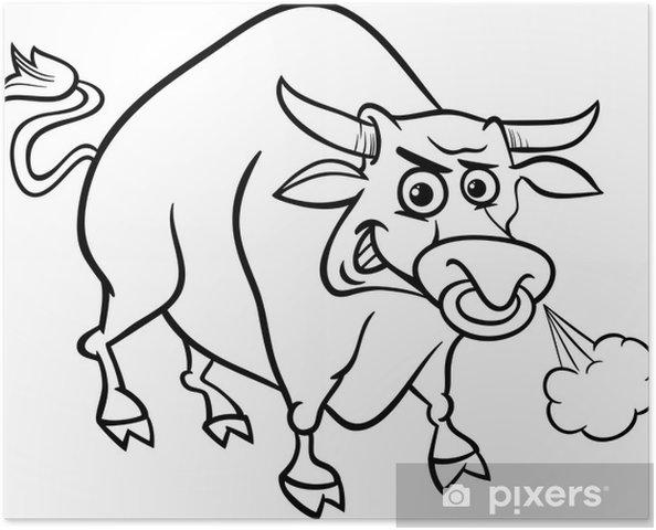 Póster Colorear Los Animales De Granja Toro