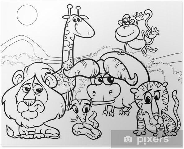 Póster Colorear Los Animales Salvajes De Dibujos Animados
