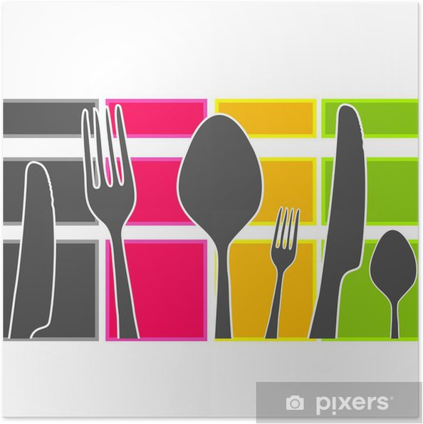 Colored Band With Kitchen Cutlery Poster Pixers We Live To Change