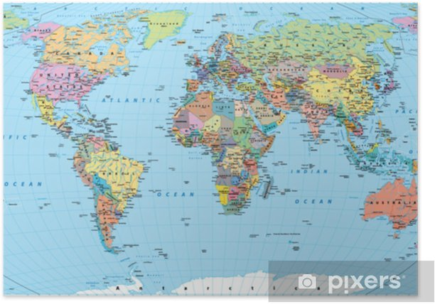 Colored World Map - borders, countries, roads and cities Poster