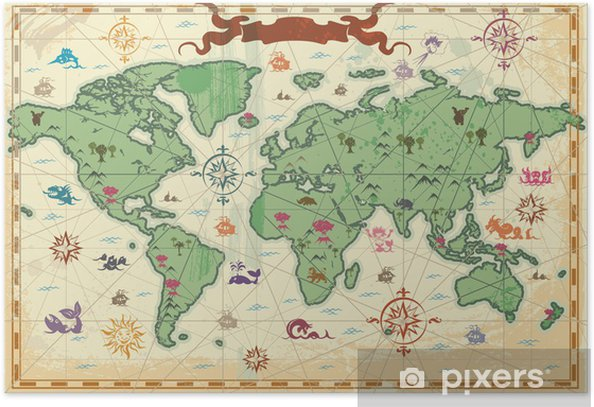 Colorful ancient World map Poster - Themes