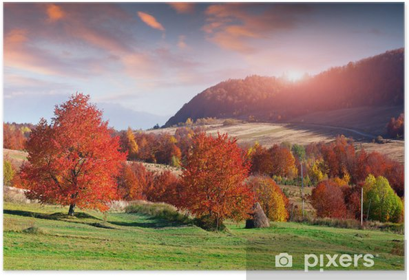 Colorful Autumn Sunrise In The Mountain Village Poster Pixers We Live To Change