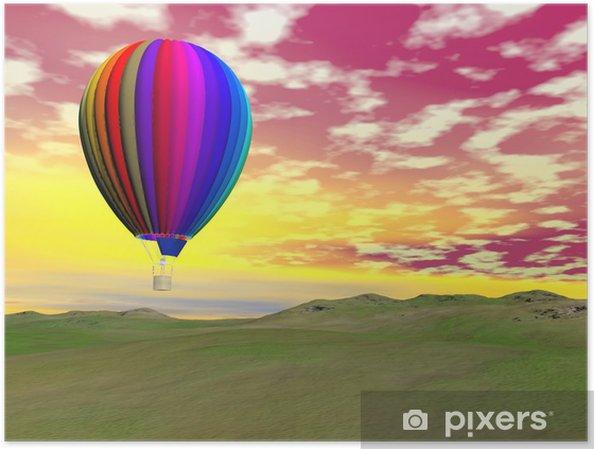 Poster Colorful ballon à air chaud - Rendu 3D - Dans les airs