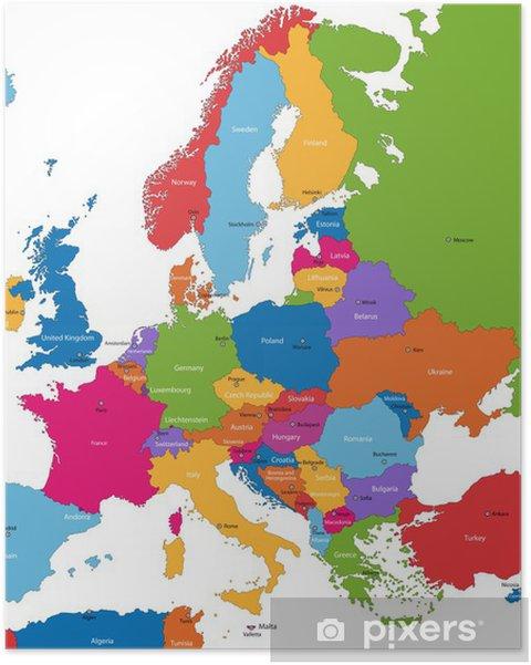 Poster Colorful carte de l'Europe avec les pays et capitales - Thèmes