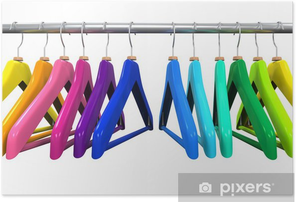 Colorful Clothes Hangers Poster - Sales