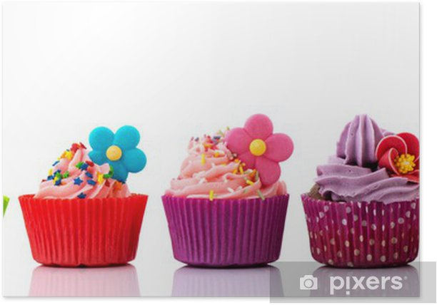 Colorful cupcakes with flowers Poster - Destinations