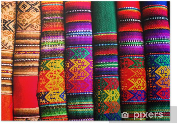 Colorful Fabric at market in Peru, South America Poster - iStaging