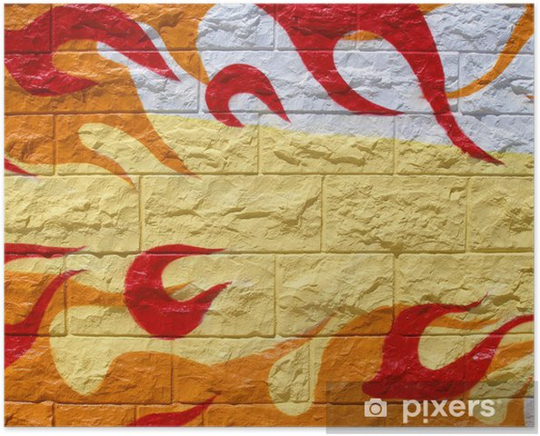 Colorful graffiti of red and orange fire flames Poster