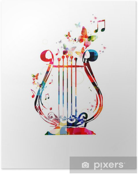 Poster Colorful music background. Lyra design vector. - Musique