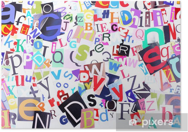 Colorful newspaper letters as background Poster - Themes