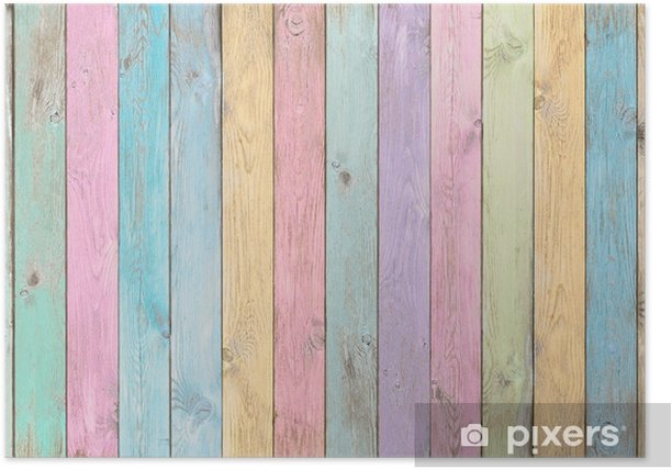 colorful pastel wood planks texture or background Poster