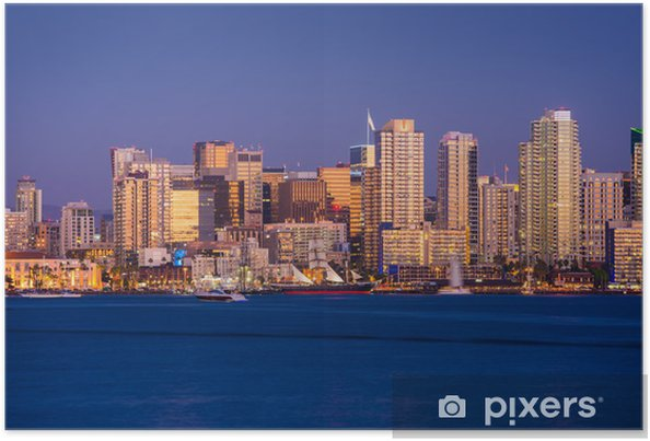 Poster Colorful San Diego Skyline - Paysages urbains