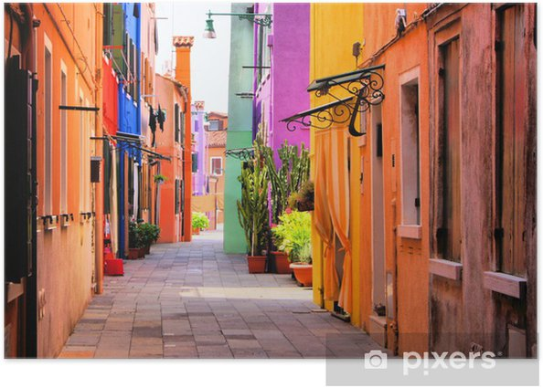 Colorful street in Italy Poster -