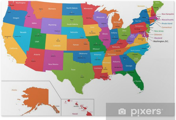 Colorful USA map with states and capital cities Poster - Themes