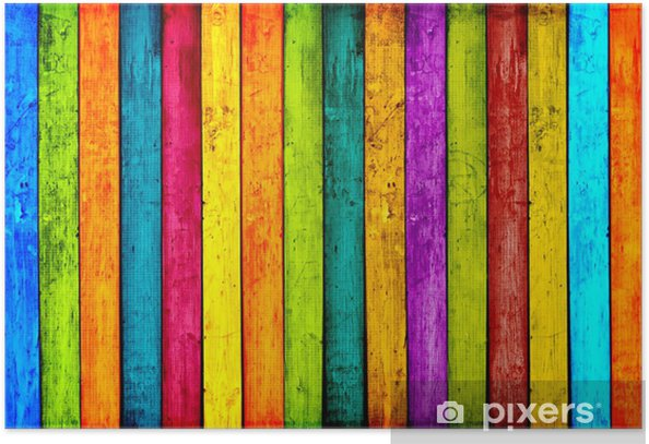 Colorful Wood Planks Background Poster -