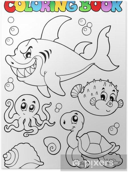 Coloriage Animaux Mer.Poster Coloriage Animaux De Livres De Mer Divers 1