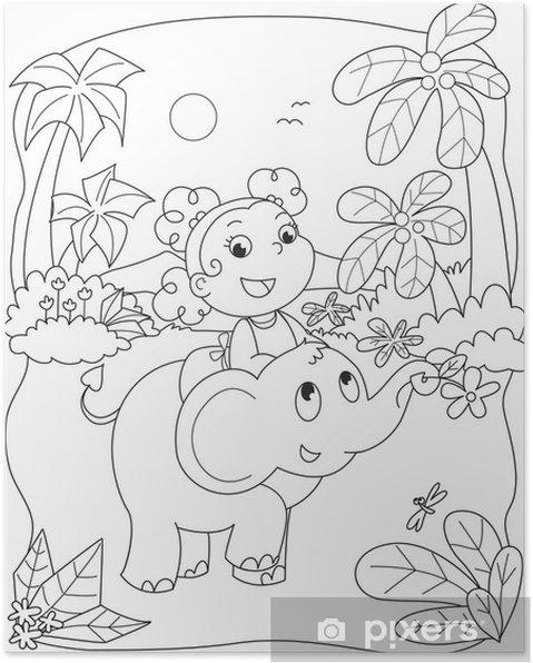 Poster Coloriage Illustration D Une Jeune Fille Chevauchant Un éléphant
