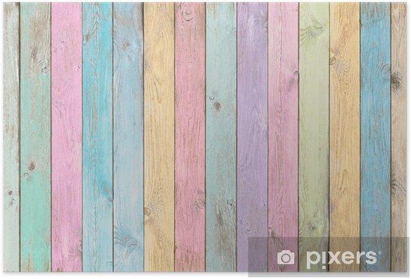 Texturas De Colores Pastel: Póster Coloridos Tablones De Madera En Colores Pastel