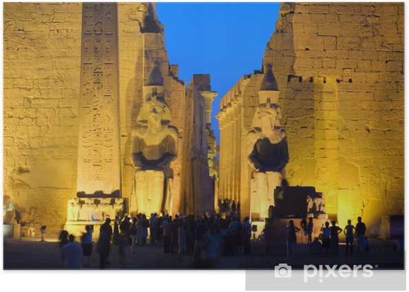 Póster Colossus en la entrada del templo de Luxor, Tebas. Serie de Egipto - África