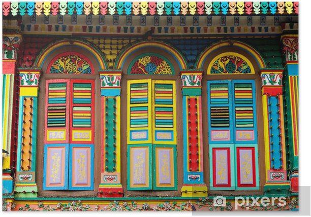 Colourful Architecture of Little India, Singapore Poster - Asian Cities