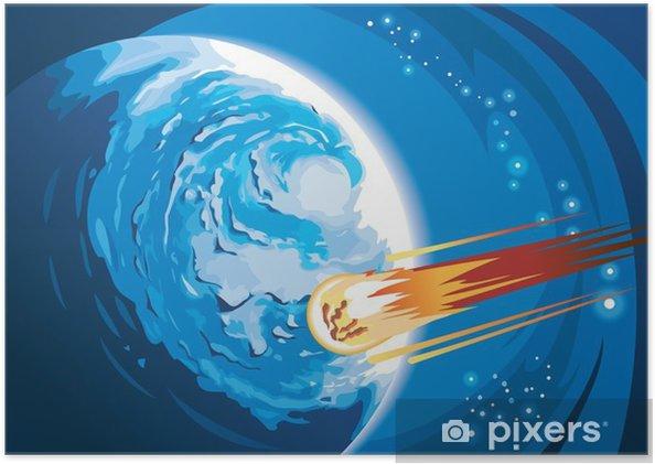 Poster Comet à la combustion de queue se précipiter à une planète, illustration vectorielle - Espace