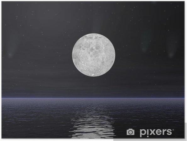 Poster Comètes et la pleine lune - Rendu 3D - Thèmes