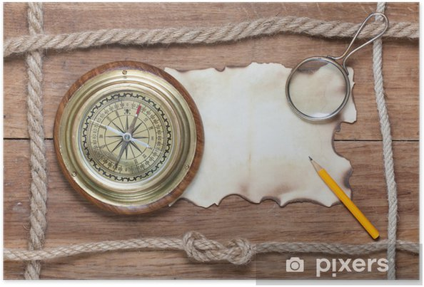 Compass, burnt paper, pencil, magnifying glass and rope on wood Poster - Backgrounds