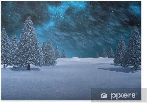 Composite image of white snowy landscape with fir trees Poster - Holidays