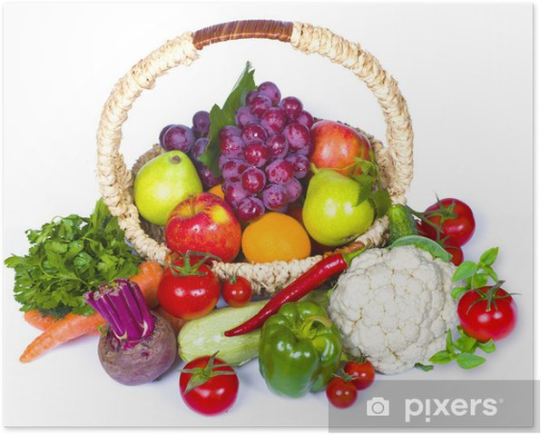 Composition of fruits and vegetables in wicker basket Poster - Meals
