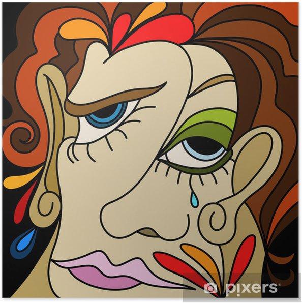 Poster Conception abstraite avec des visages de femmes - Autres sentiments