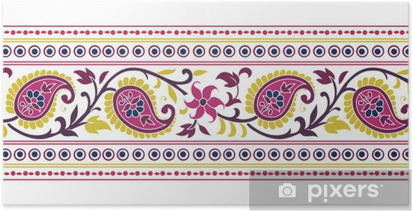 Poster Conception de Paisley floral traditionnel de textile, royal Inde - Styles