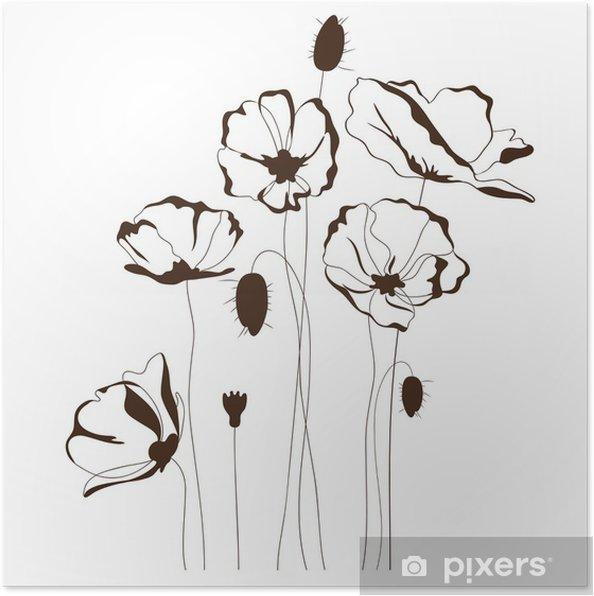Poster Conception de pavot, fond floral - Fleurs