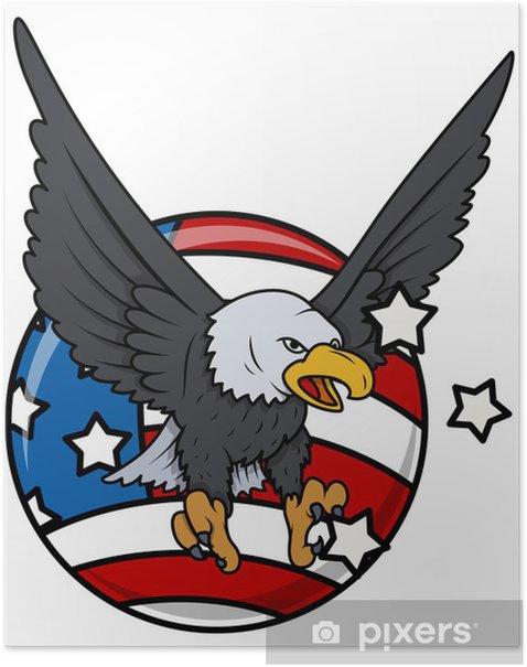 Poster Conception patriotique - Eagle et drapeau - Amérique - Sticker mural