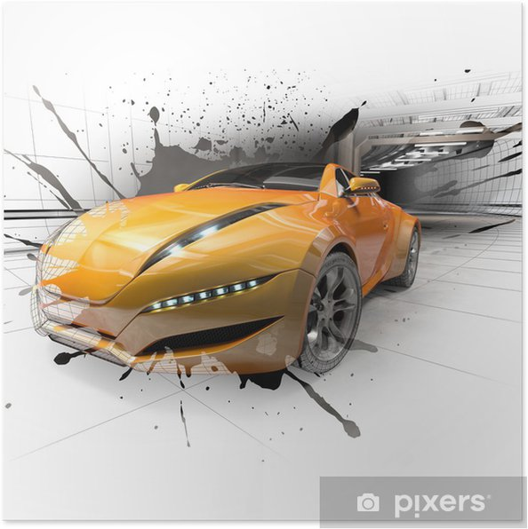 Póster Concepto de coche - Por carretera