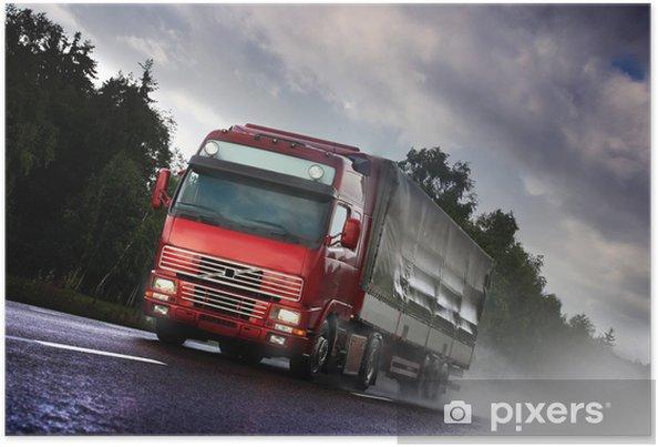 Poster . Conduite de camion sur le pays route - Sur la route